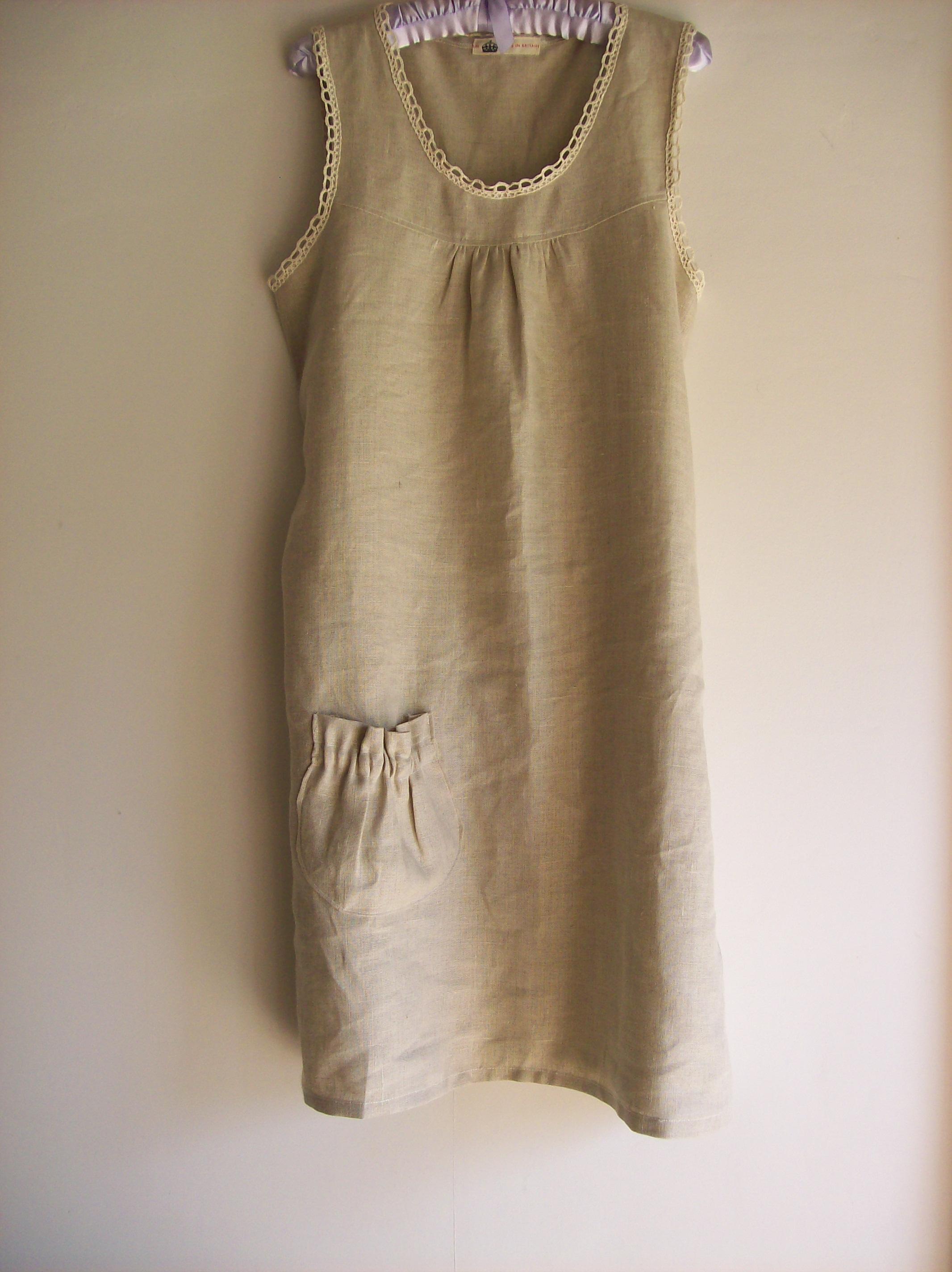 Oatmeal Linen Shift Dress